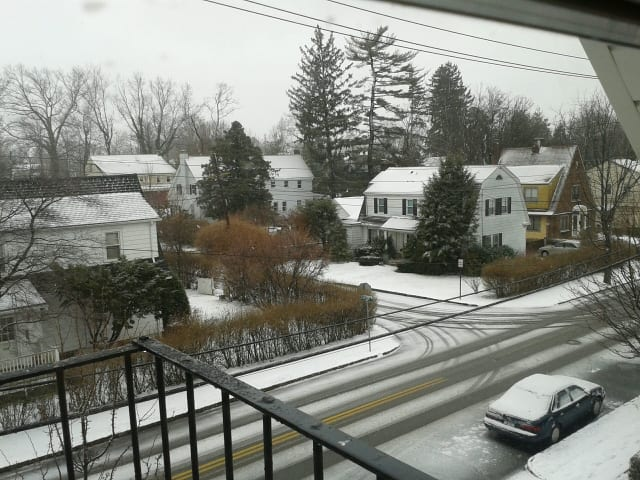 Winter storm conditions hit New Rochelle on Friday.