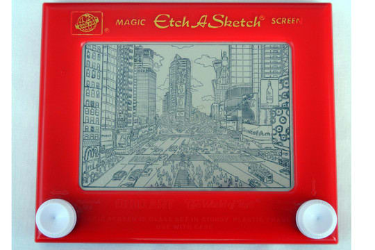 Bryan Lee Madden exhibits his Etch-A-Sketch artwork at the Somers Library in February.