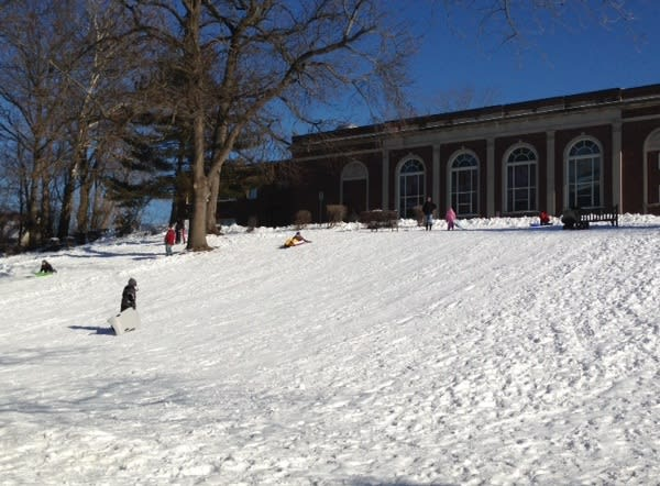 The slope behind Mamaroneck High School provided a great sledding spot for kids Sunday.