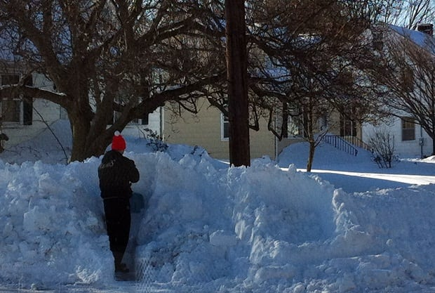 This man, on Stillson Road in Fairfield, was clearing out a corner to make it easier for cars to see.