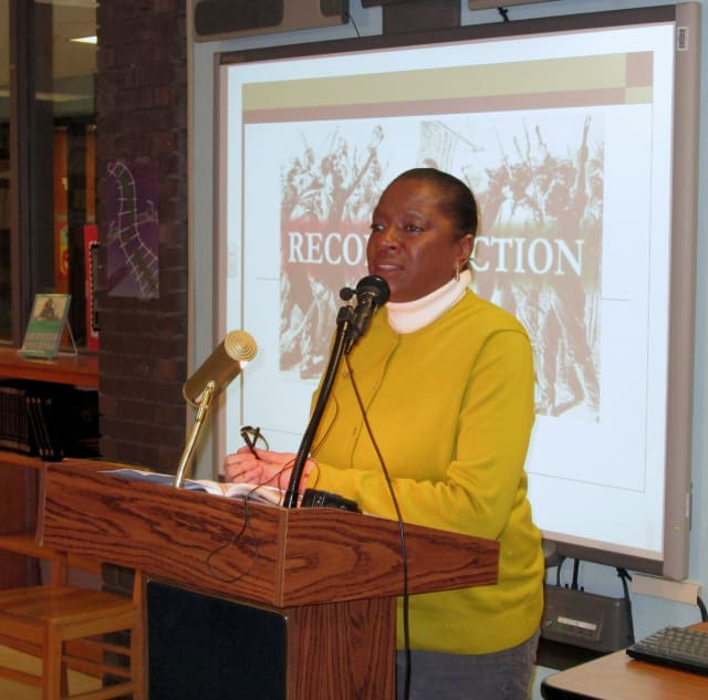New Rochelle author Linda Tarrant Reid spoke at Yonkers' Saunders Trades and Technical High School about the Reconstruction Era in celebration of Black History Month.