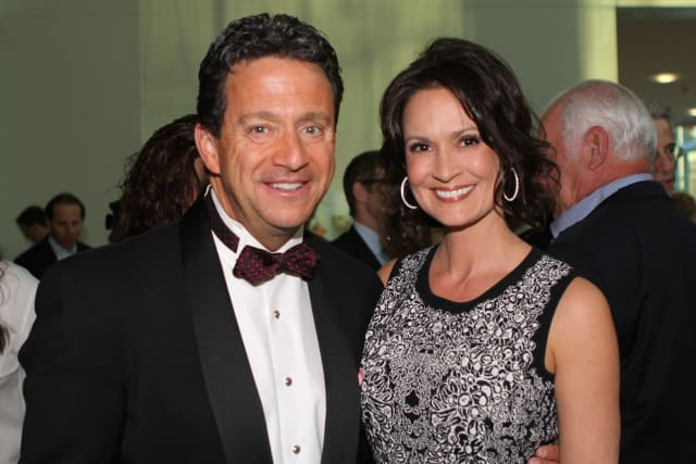 "Hosting this year's ""Curtain Call's Dancing With The Stars"" is meteorologist Bill Evans, seen here with Julia Frisoli, event co-chair."