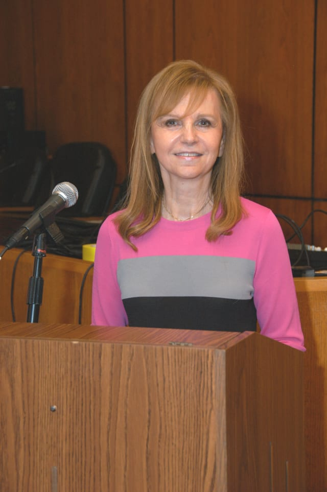 Scarsdale Mayor Miriam Levitt Flisser spoke about the weekend's snow removal process at Wednesday night's meeting.