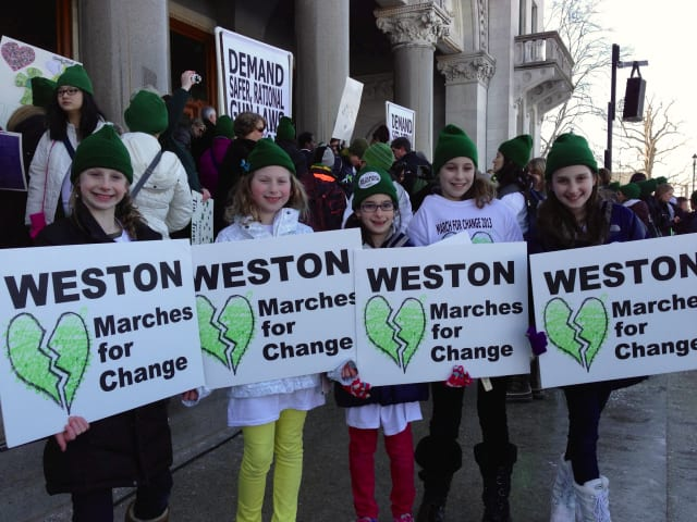 Weston students march for change at the capitol building in Hartford. From left: Hannah Daniels, Ellie Daniels, Jessica Kripke, Raya Greenberger, Alexa Kripke.