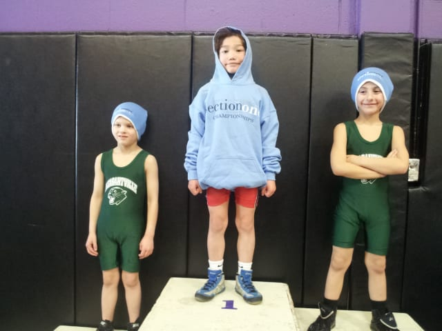 August Hibler, center, won the bantam title at the Section 1 Kids Wrestling Championship/State Qualifier.