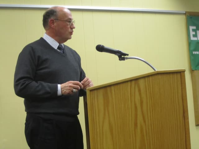 Energy Improvement Corporation Treasurer Joe Del Sindaco tells the Croton Board of Trustees about its latest sustainable energy program Tuesday evening.