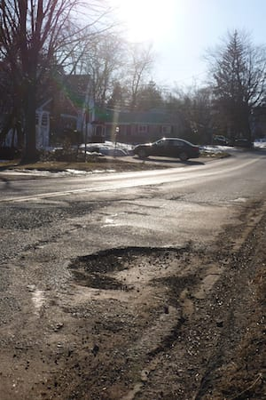 Potholes like this one on Secor Road are erupting across Greenburgh as the freeze-thaw cycle continues.