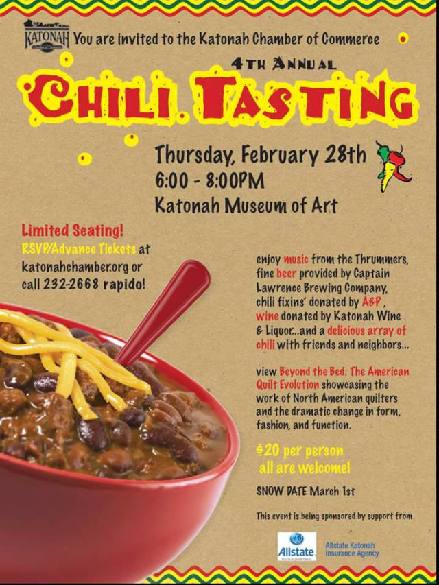 Chili lovers are invited to attend the Katonah Chamber of Commerce's Chili Night this Thursday.