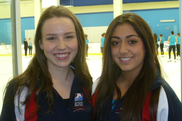 Greenwich High School seniors Brooke Abbott, left, and Alexandra Scarpulla will skate for the Skyliners Junior synchronized skating team in national and international events over the next few weeks.