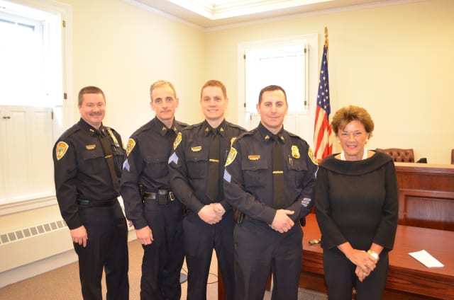Three Bedford Police officers were sworn in to the rank of sergeant Thursday. Pictured from left to right: Police Chief William Hayes, Sgt. Richard Hubert, Sgt. Michael Callahan, Sgt. Vincent Gruppuso and Town Supervisor Lee Roberts.