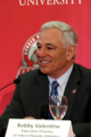 Stamford native Bobby Valentine speaks to reporters about his new position at Fairfield's Sacred Heart University Tuesday.