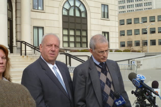 Former State Sen. Nicholas Spano, seen here with attorney Richard Levitt in front of the U.S. Courthouse in White Plains, was released from prison Tuesday.