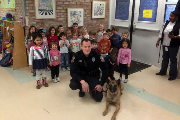 Westport Police Service Dog Koda and his handler Officer James Loomer stopped by Stepping Stones Preschool Tuesday for a demonstration.
