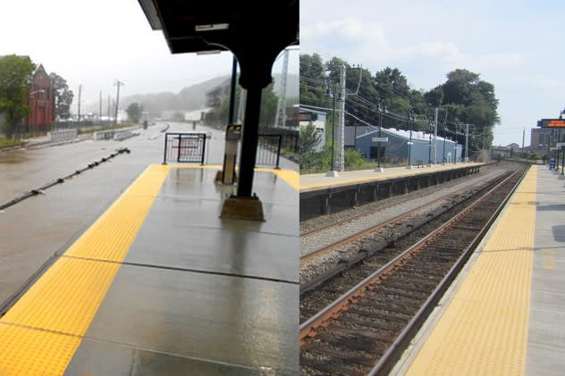 The MTA says that a new project set for this spring and summer will prevent flooding at the Ossining train station, seen in the above left photo.