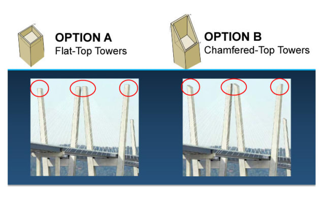 Two options have been presented for the main towers on the new Tappan Zee Bridge.