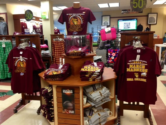 The Iona College campus bookstore stocks up on March Madness paraphernalia.