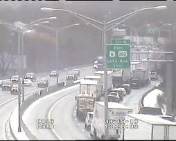 Traffic is backing up on westbound I-84 past the Route 7 interchange toward Exit 5 in downtown Danbury.