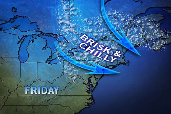 More unseasonably cold weather is expected this weekend as a storm moves off the Atlantic Coast.