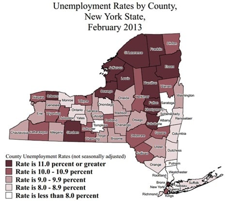 Westchester's unemployment rate of 7.6 percent was ranked the sixth lowest in New York.