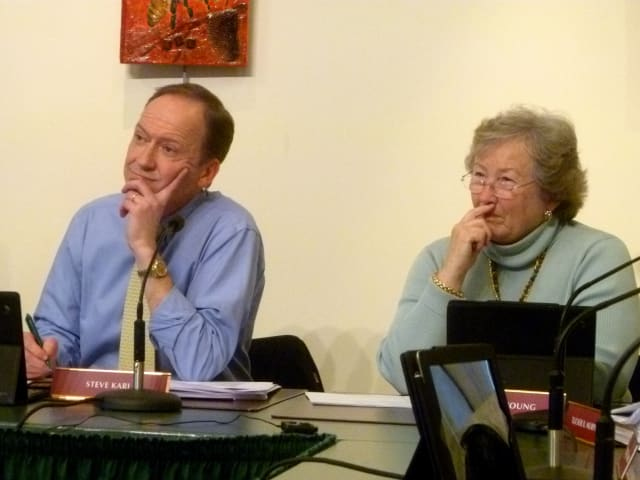 Town Council members Steve Karl and Penny Young and the rest of the council heard several residents support the Board of Education's budget during a public hearing at the New Canaan Nature Center Wednesday.
