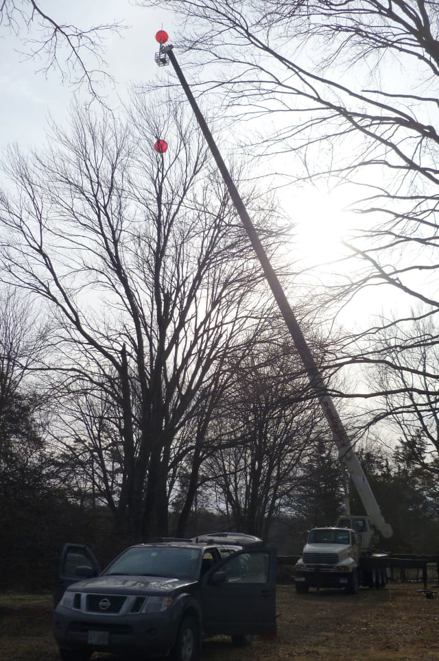 In January Verizon Wireless set up a pair of red balloons in New Canaan to test a potential cell phone tower location.