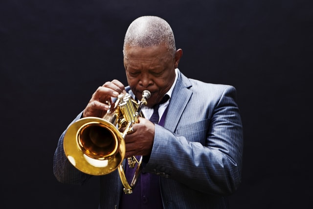 African jazz legend Hugh Masekela performs at the Tarrytown Music Hall on Wednesday.