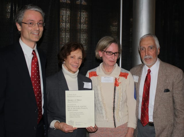 William Earls, Janet Lindstrom, Helen Higgins and Tom Nissley with the Merit Award for Physical Preservation given to the Gores Pavilion in New Canaan.