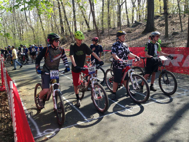 Sophomore racers line up at the start line Saturday for the inaugural race of the New York High School Mountain Bike League at Sprain Ridge Park in Yonkers.