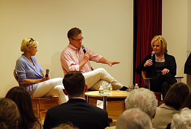 """Morning Joe"" co-hosts Mika Brzezinski and Joe Scarborough along with Emmy winning journalist Diane Smith spoke at the New Canaan Library Saturday night about Brzezinski and Smith's new book ""Obsessed""."