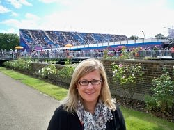 College of New Rochelle Professor Amy Bass, shown here at the London Olympics, won an Emmy award for her work with NBC.