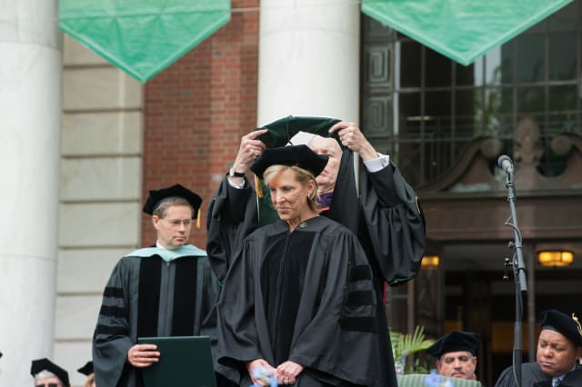 New Canaan's Kathy Giusti receives her Honorary Doctor of Humane Letters degree from The University of Vermont. She is the CEO and founder of Norwalk-based Multiple Myeloma Research Foundation.