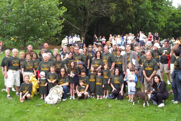 The Remembering Billy Monti Team at a previous Westchester Walk to Defeat ALS. This year's walk will be held Sunday at Manhattanville College in Harrison.