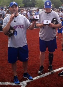 Craig Carton, left and Boomer Esaison, seen here at a fundraiser in New Rochelle, will appear in Scarsdale at Midway Wine & Liquor.