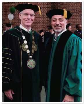 Manhattan College President Brennan O'Donnell (left) and Yonkers Public Schools Superintendent Bernard P. Pierorazio.
