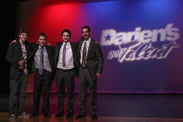 "The members of The Collective Jazz Project -- Darien High grad Will Trautmann, Andrew DeNicola  of Stamford, Staples High School's Jordan Daresky and Eli Koskoff -- win the top honor in ""Darien's Got Talent."""