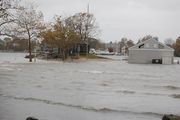 Pear Tree Point Beach in Darien is under flowing water at high tide during Hurricane Sandy. At least 76 homes in town were damaged in that storm.