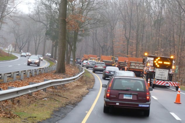 Tree-trimming work continues on the Merritt Parkway in New Canaan, Stamford and Norwalk.