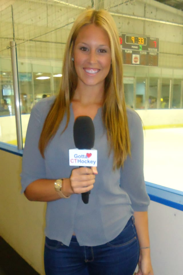 Danbury's Ashley Leach, a rising senior at Western Connecticut State University, landed her first job as a hockey commentator with a Connecticut network.