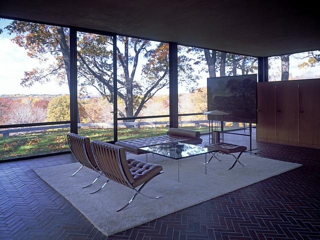 A view from inside the Glass House in New Canaan.