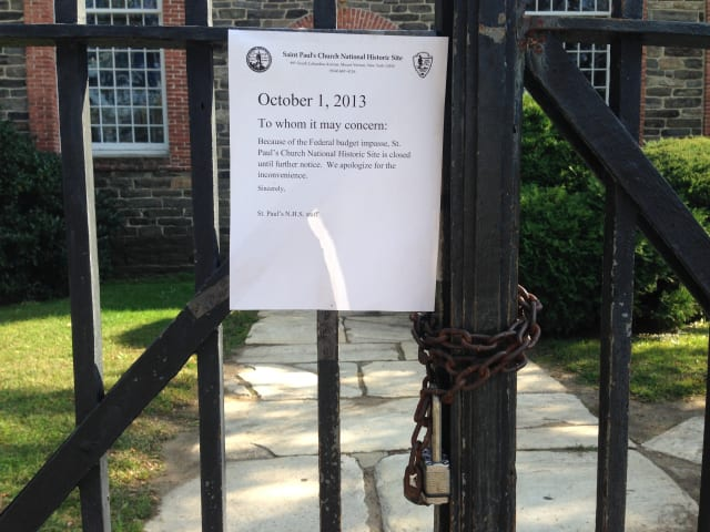 St. Paul's historic grounds will be closed in Mount Vernon until the federal government shut down concludes.