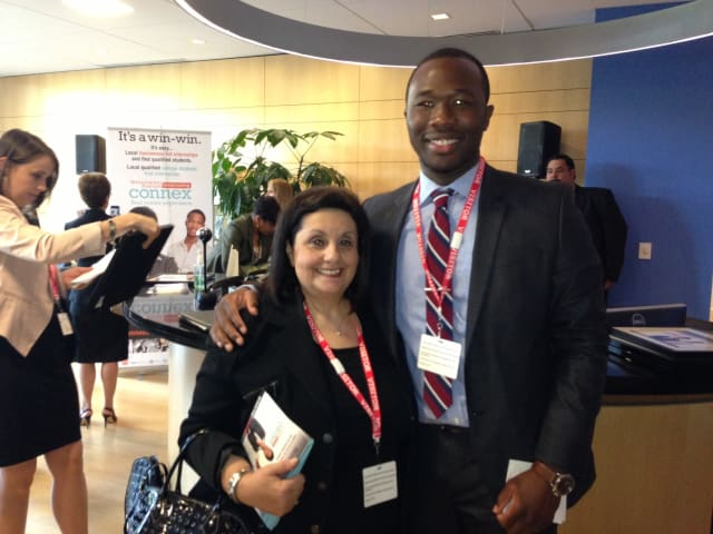 Pace University Director of Career Services Angelina Bassano, left, and student Idia Ogala.