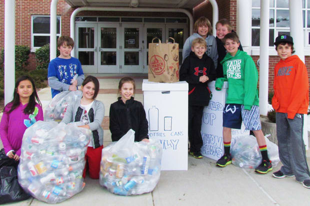 Akira Nobumoto, Ryan McElroy, Madison McVey, Kelsey Rhodes, Will Maggio, Maden Herve, Lewis Cropper, Matthew McVey and Anthony Andre are some of the Wilton students participating in the Bottled Up! can and bottle drive Saturday from 9 a.m. to noon.