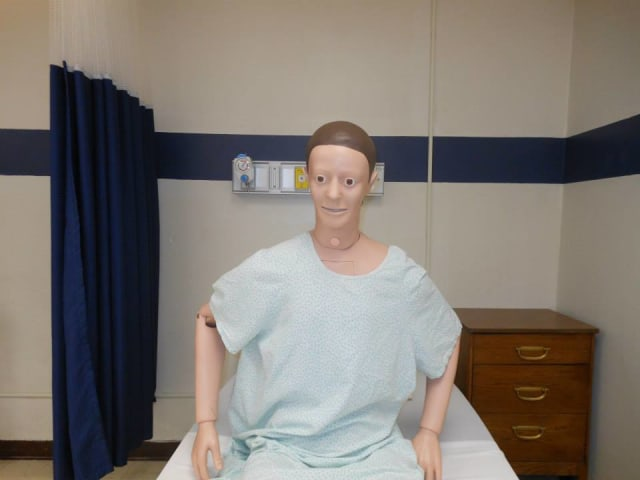 Sim Man, one of the latest generation of human patient simulators who will help train Pace nursing students.