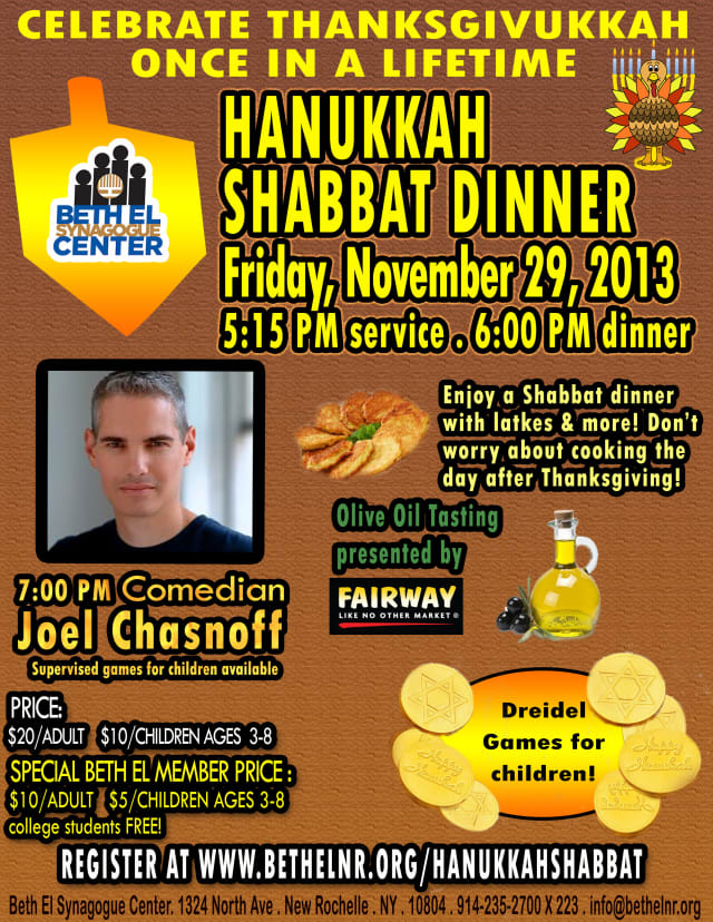 """New Rochelle's Beth El Synagogue Center is one of several communities in Westchester celebrating """"Thanks-givikkah"""