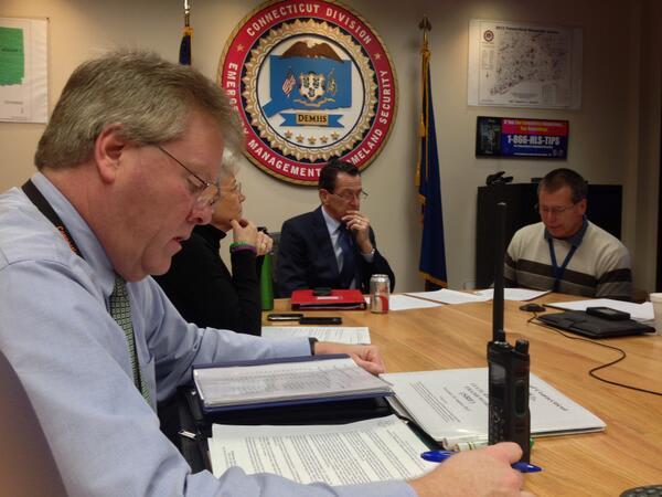 Gov. Dannel Malloy monitors the impending snowstorm from the state Emergency Operations Center in Hartford.