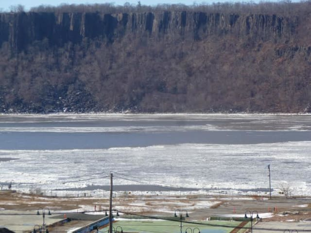 A look at the icy Hudson River during the afternoon on Tuesday.