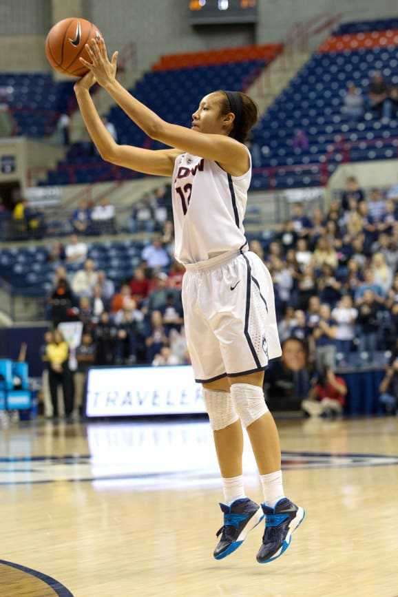 Ossining's Saniya Chong plays for the UConn women's basketball team Saturday in Bridgeport, Conn.