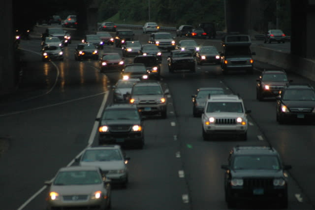 A pair of accidents has traffic backed up on both the Merritt and I-95.