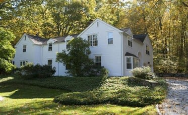 This house at 22 Lower Shad Road in Pound Ridge is open for viewing this Sunday.