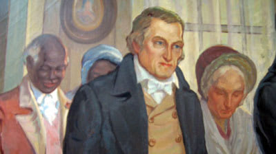 "John Peter Delancey, with his wife and three of his slaves. From the mural ""The Marriage of James Fenimore Cooper to Susan DeLancey, 1811?"